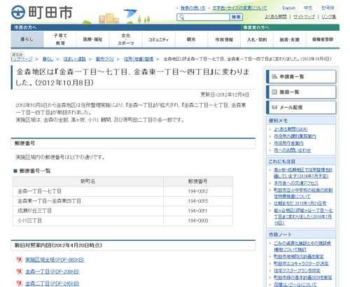東京都町田市住居表示による住所変更のご案内