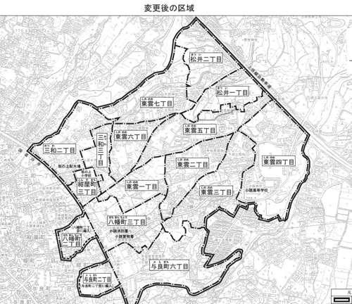 長野県小諸市住居表示住所変更の区域図