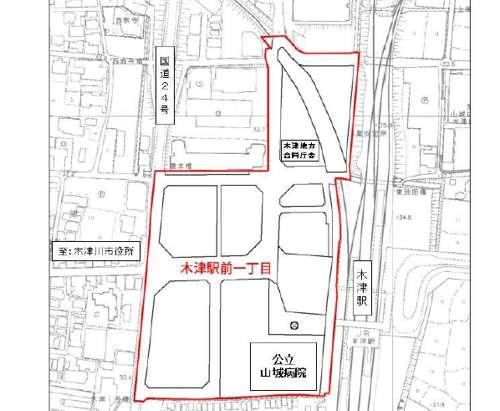 京都府木津川市区画整理事業住所変更の区域図