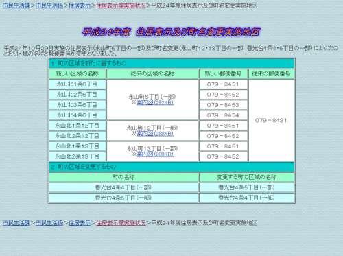 北海道旭川市住居表示住所変更の案内