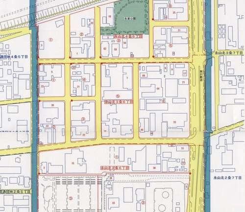 北海道旭川市住居表示住所変更の区域図