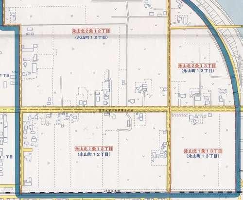 北海道旭川市町名変更住所変更の区域図