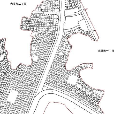 千葉県野田市区画整理事業住所変更の区域図