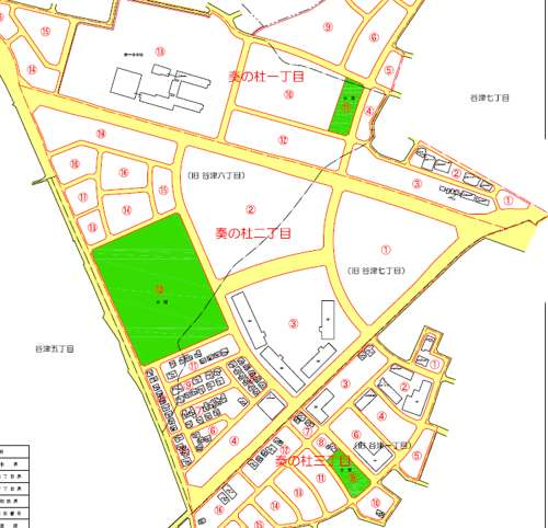 千葉県習志野市住居表示住所変更の区域図