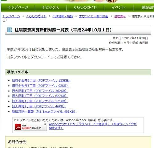 東京都小平市住居表示住所変更の案内