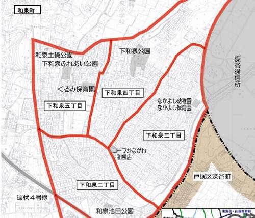 神奈川県横浜市泉区住居表示住所変更の区域図1