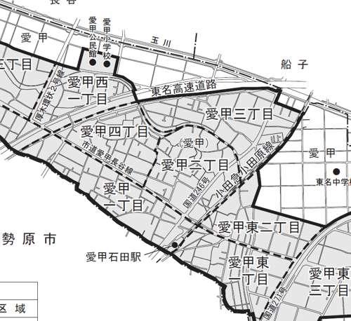 神奈川県厚木市住居表示住所変更の区域図