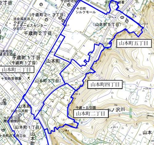 新潟県十日町市町界町名整理事業住所変更の区域図