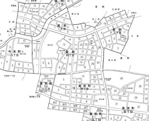 愛知県安城市区画整理事業住所変更の区域図