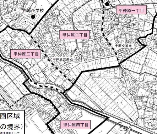 福岡県糟屋郡粕屋町住居表示住所変更の区域図