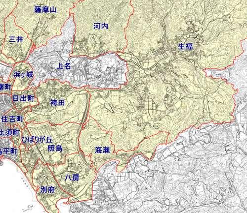 鹿児島県いちき串木野市町名整備事業による住所変更の区域図