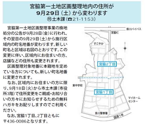 静岡県掛川市区画整理事業住所変更の案内