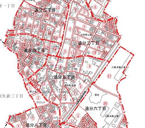 滋賀県草津市住居表示住所変更の区域図