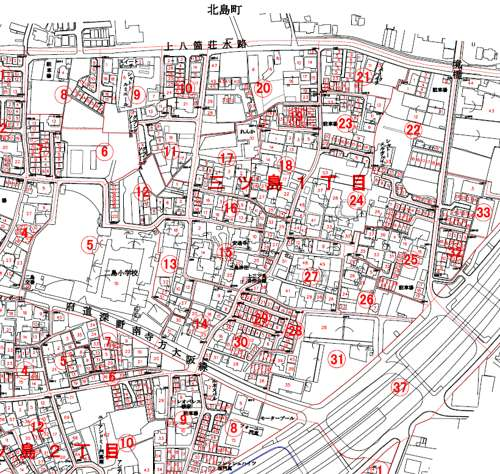 大阪府門真市住居表示住所変更の区域図1