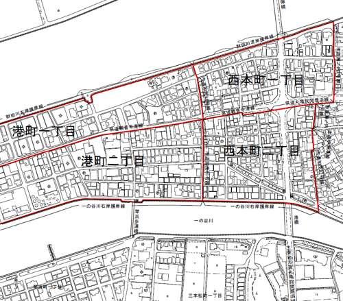 香川県観音寺市住居表示住所変更の区域図
