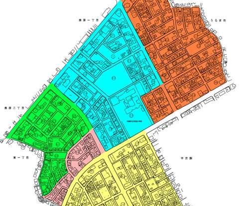 沖縄県沖縄市住居表示住所変更の区域図