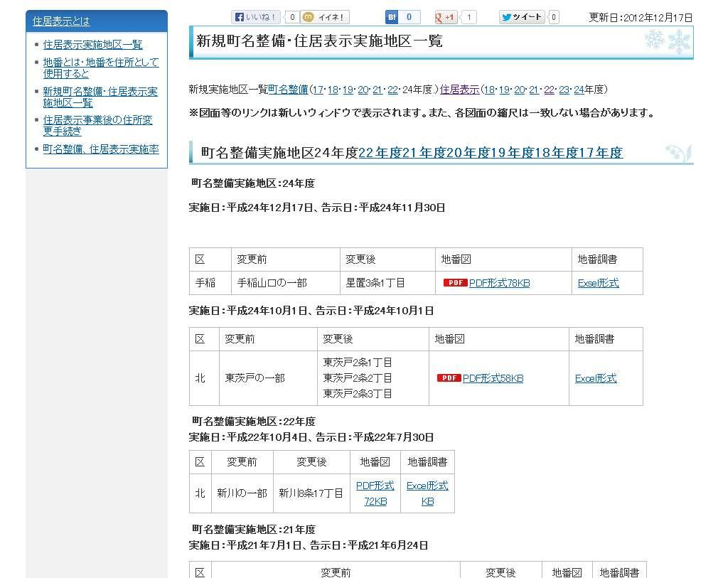 北海道札幌市手稲区町名整備事業による住所変更の案内