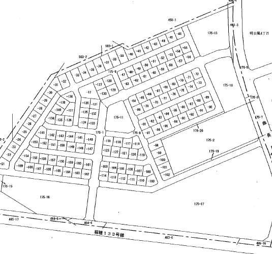北海道札幌市手稲区町名整備事業による住所変更の区域図