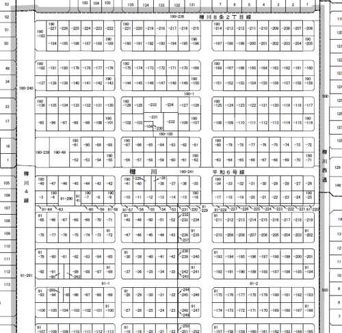 北海道石狩市町名地番改正事業による住所変更の区域図1