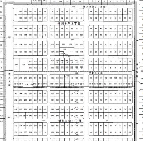 北海道石狩市町名地番改正事業による住所変更の区域図2