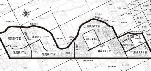 北海道帯広市字名地番改正住居表示住所変更の区域図