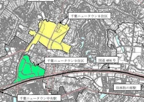 千葉県印西市区画整理事業住所変更の区域図1