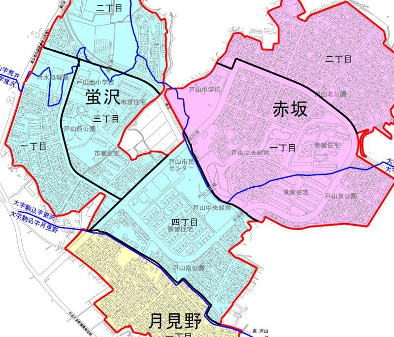 青森県青森市住居表示住所変更の区域図