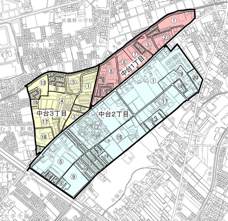 埼玉県川越市町名地番整理事業住所変更の区域図
