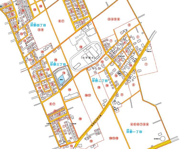 2013年03月熊本県菊池郡菊陽町住居表示住所変更の区域図
