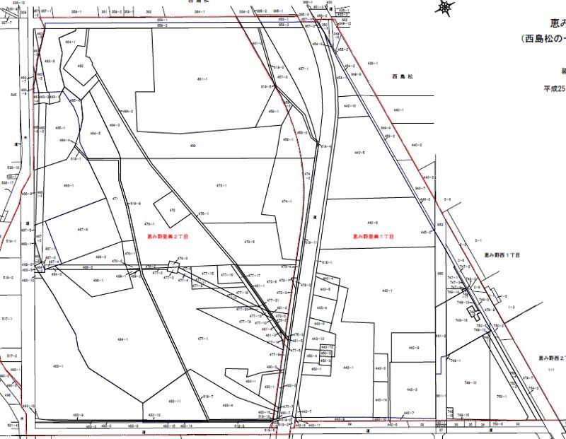 北海道恵庭市区画整理事業住所変更の案内図201308-2