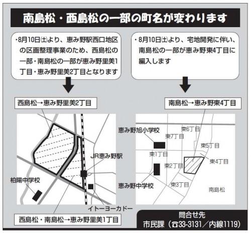 北海道恵庭市区画整理事業住所変更の案内図201308