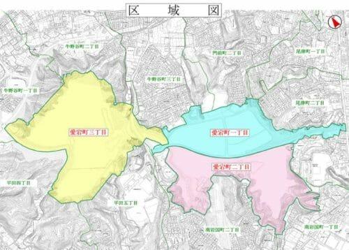 山口県岩国市の町名整理による住所変更区域図