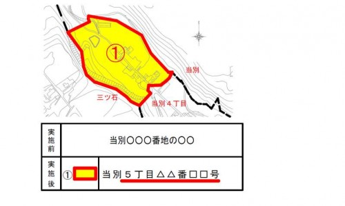 北海道北斗市2014年2月3日住居表示住所変更区域図他1