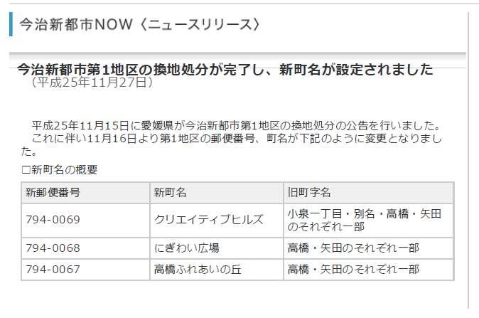 愛媛県今治市2013年11月16日区画整理事業住所変更区域図他1