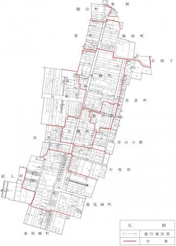 秋田県由利本荘市2014年2月15日区画整理事業住所変更区域図他1