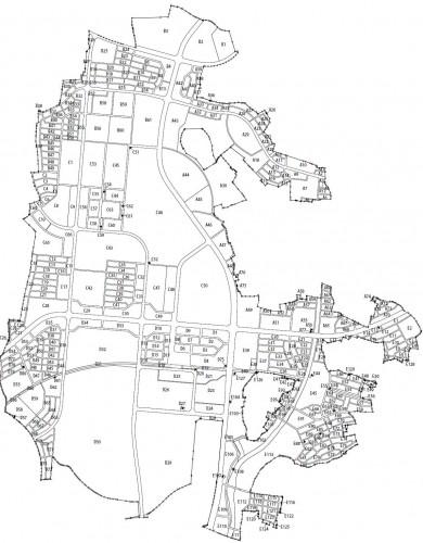 茨城県つくば市2014年6月28日区画整理事業住所変更街区図