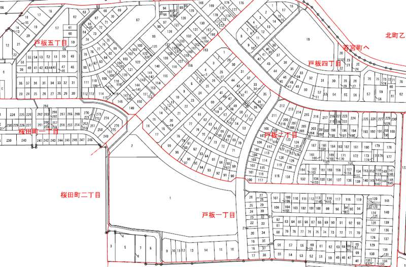 石川県金沢市2014年6月28日区画整理事業住所変更区域図他1