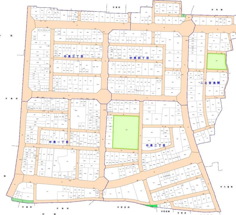 静岡県磐田市2014年6月28日区画整理事業住所変更区域図他1