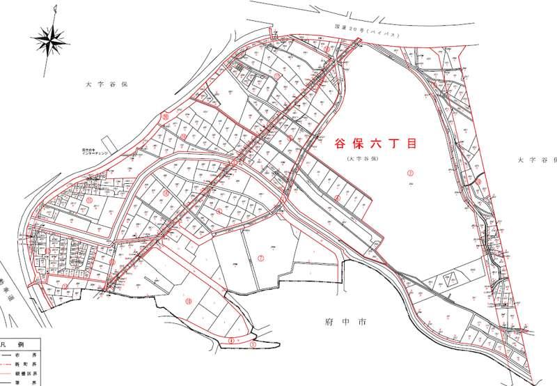 東京都国立市2014年10月25日町名地番変更住所変更区域図他1