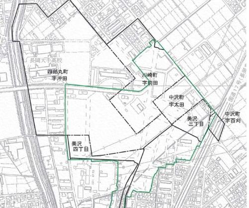 新潟県長岡市2014年11月1日区画整理事業住所変更区域図他2