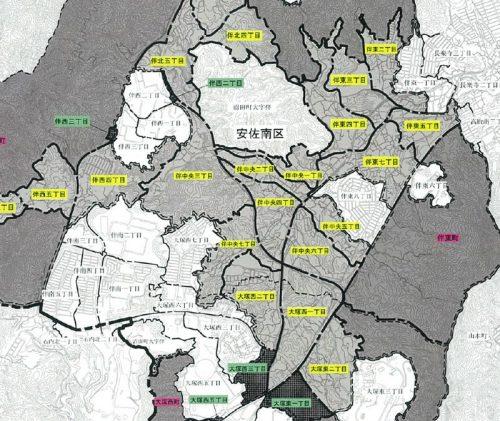 広島県広島市安佐南区2015年2月2日住居表示住所変更区域図他1