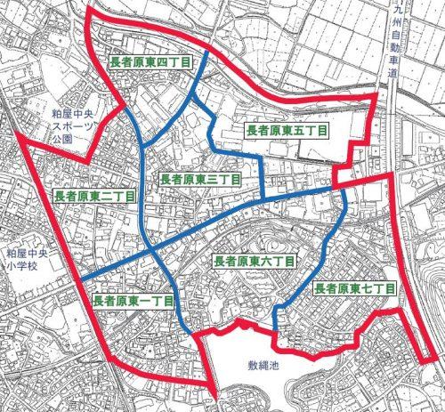 福岡県糟屋郡粕屋町2015年2月21日住居表示住所変更区域図他1