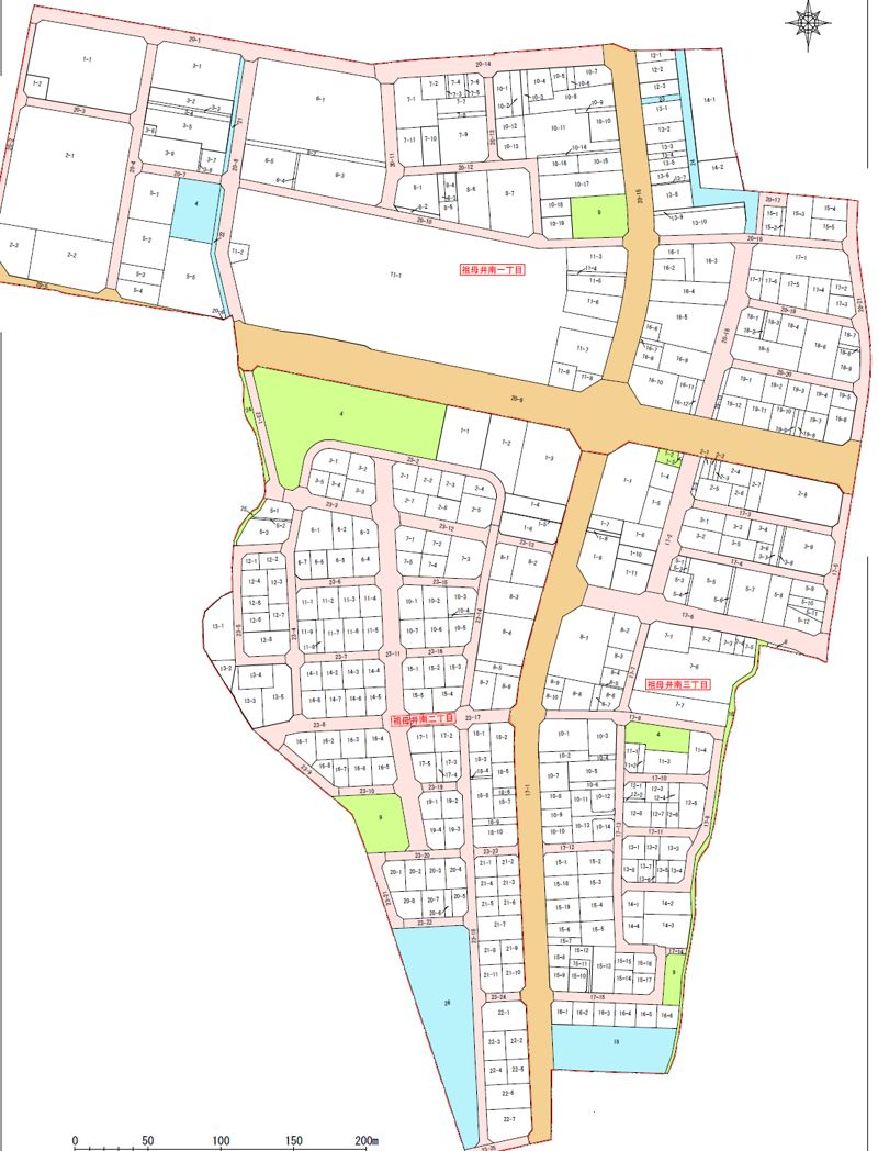 栃木県芳賀郡芳賀町2015年2月28日区画整理事業住所変更区域図他1