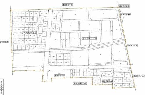 宮城県石巻市2017年1月20日区画整理事業住所変更区域図他1