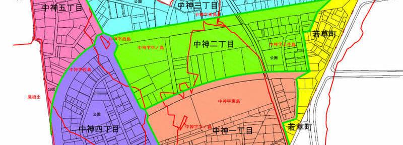 富山県砺波市2017年4月22日区画整理事業住所変更区域図他1