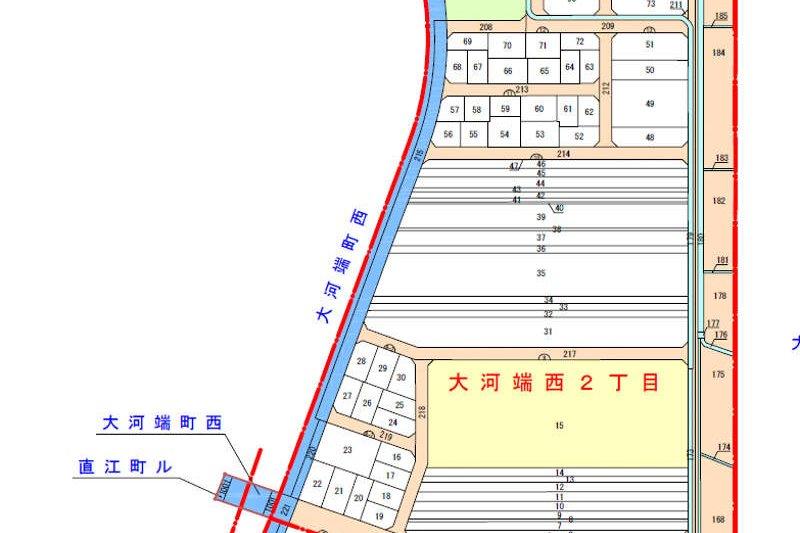 石川県金沢市の区画整理事業による町名変更区域図2