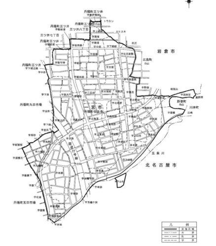 愛知県一宮市2017年5月27日区画整理事業住所変更区域図 旧地名