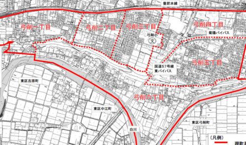 熊本県熊本市北区2017年10月30日住居表示住所変更区域図他1