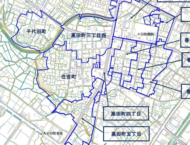 新潟県十日町市2017年11月20日地籍調査による地番整理住所変更区域図他1