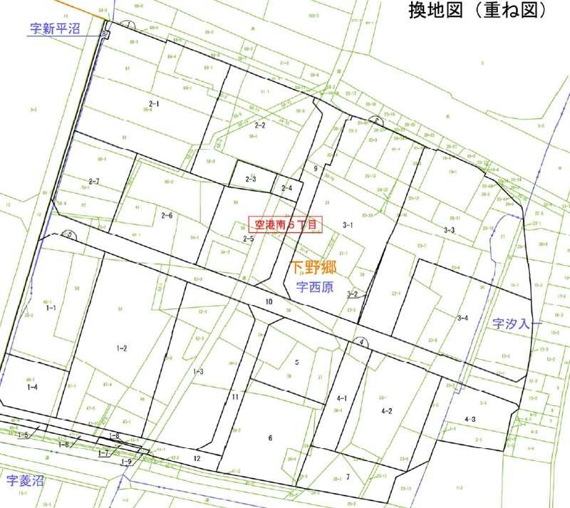 宮城県岩沼市2017年11月18日区画整理事業住所変更区域図他1